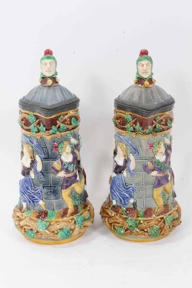 A matched pair of Minton Majolica 'Tower' jugs, 1881 and 1883, 33cm height - Image 2 of 8