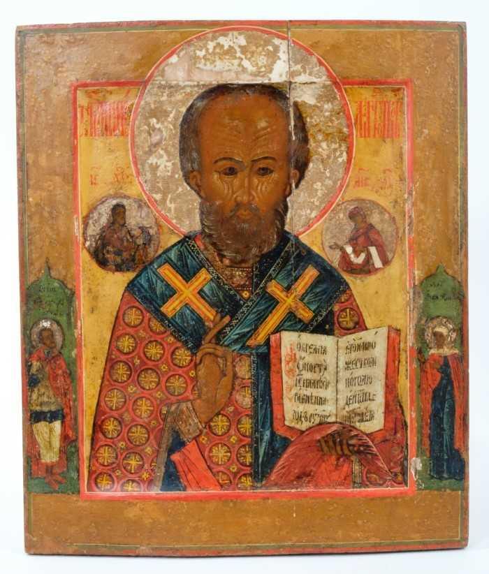 St Nicholas of Myra, 18th Century Russian polychrome painted Icon