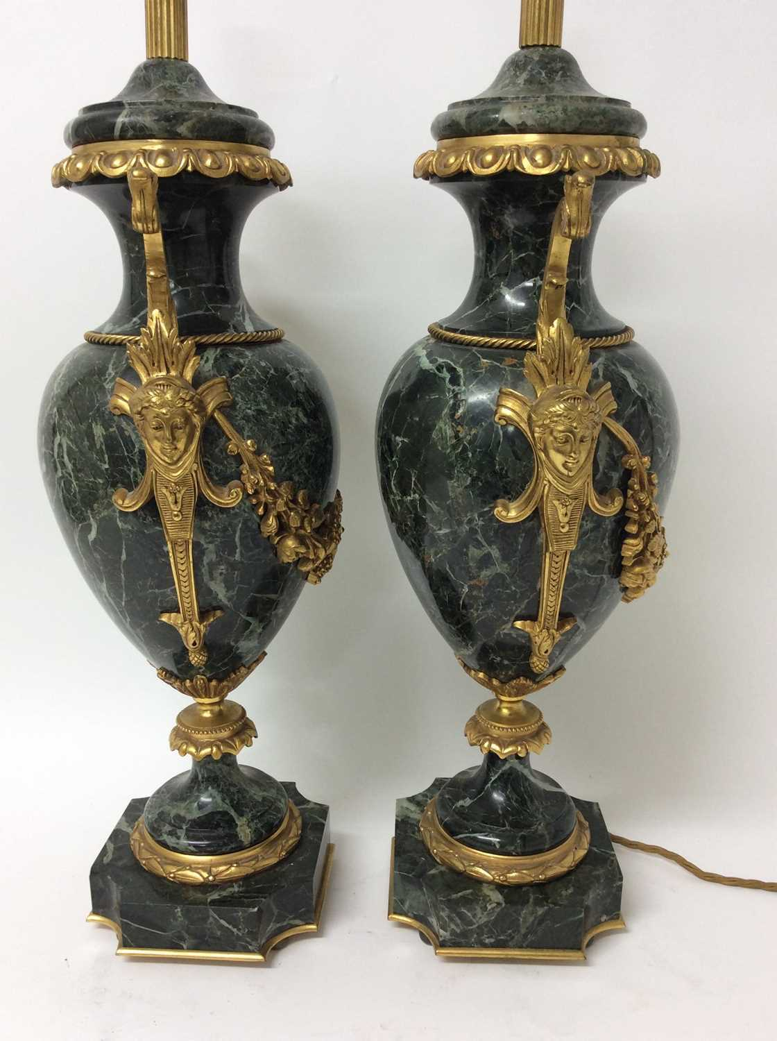 Pair of 18th century style gilt metal mounted verde antico marble table lamps, each of urn form with - Image 7 of 7