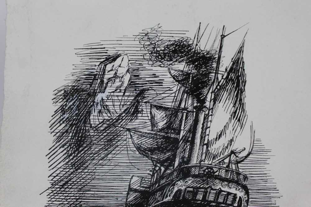 Phyllis Ginger (1907-2005) pen and ink drawing - The Paddle Steamer, unframed Provenance: Chris Be - Image 4 of 6