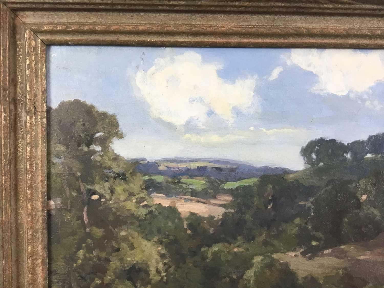 Lewis Taylor Gibb (1873-1945) oil on canvas - Extensive Landscape, signed, 39cm x 49cm, in gilt fram - Image 5 of 9