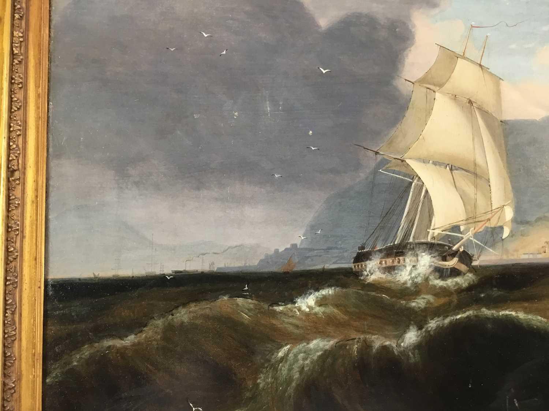 John Lynn (act.1826-1869) oil on canvas - British Frigate off Gibraltar, circa 1835, 49cm x 60cm, in - Image 10 of 15