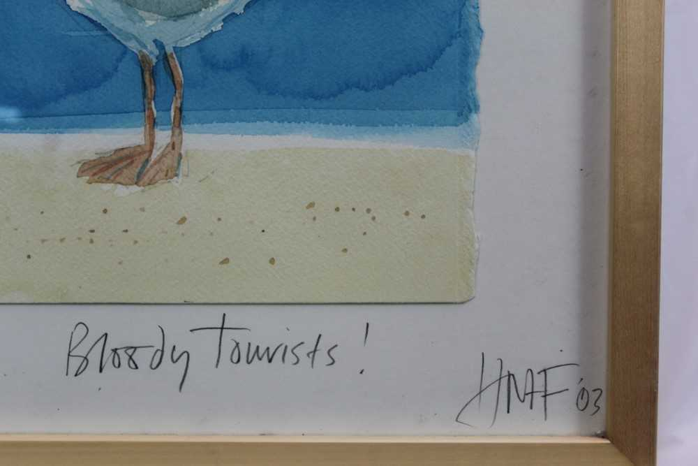 Hugh Fairfax watercolour - Bloody Tourists, signed, dated '03, in glazed frame Provenance: Thompso - Image 4 of 9