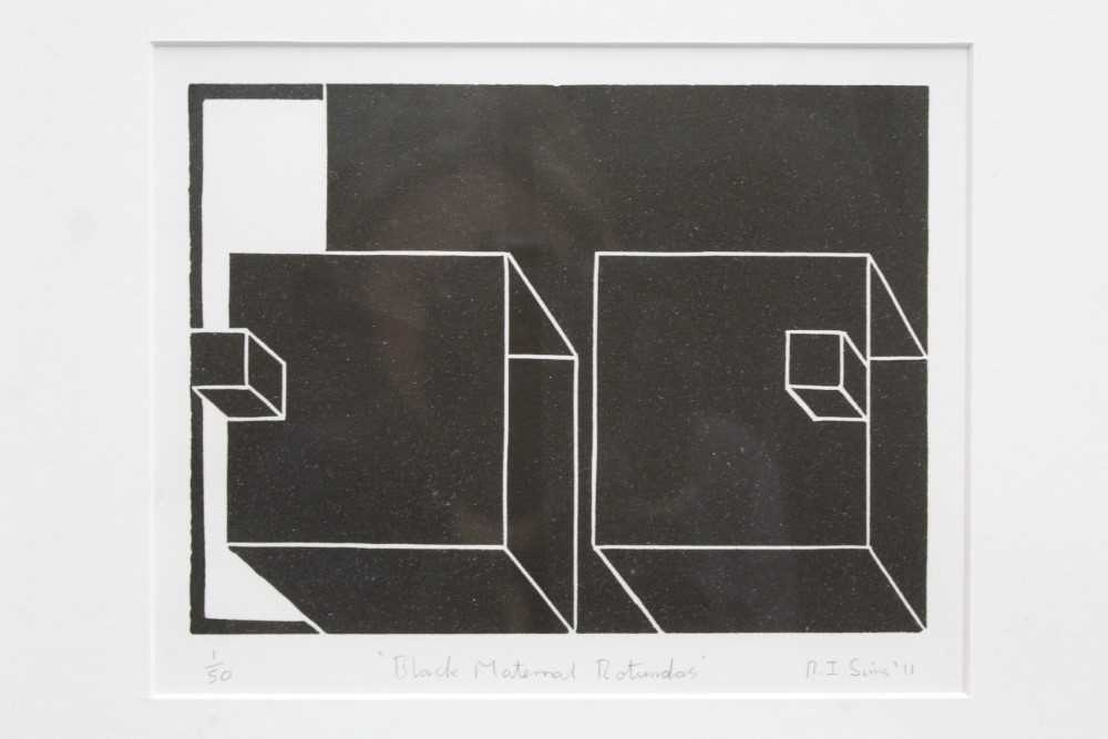 Ron Sims (1944-2014) signed limited edition linocut - Black Maternal Rotundas, 1/50, dated '11, 17.5