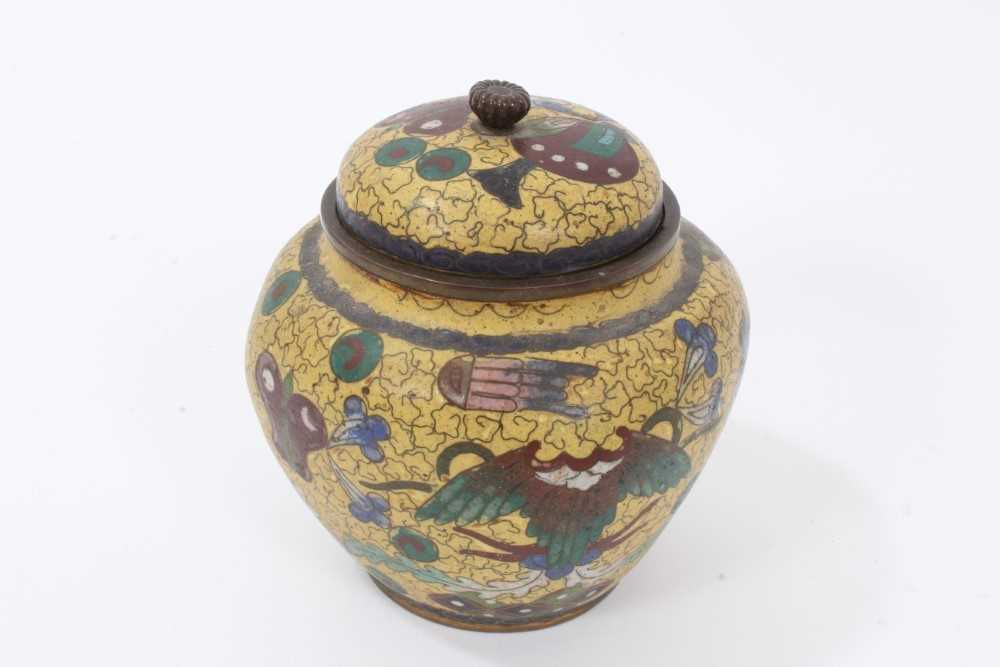 Japanese cloisonné pot and cover, together with another - Image 7 of 10