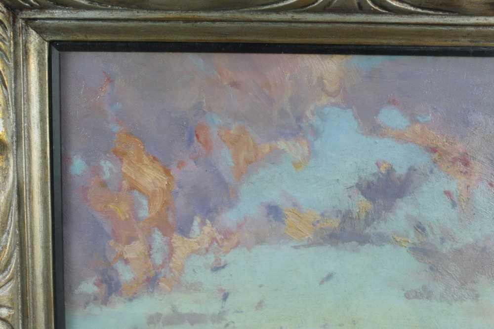 Lewis Taylor Gibb (1873-1945) oil on canvas - Extensive Landscape, 29cm x 33cm, in glazed gilt frame - Image 2 of 8