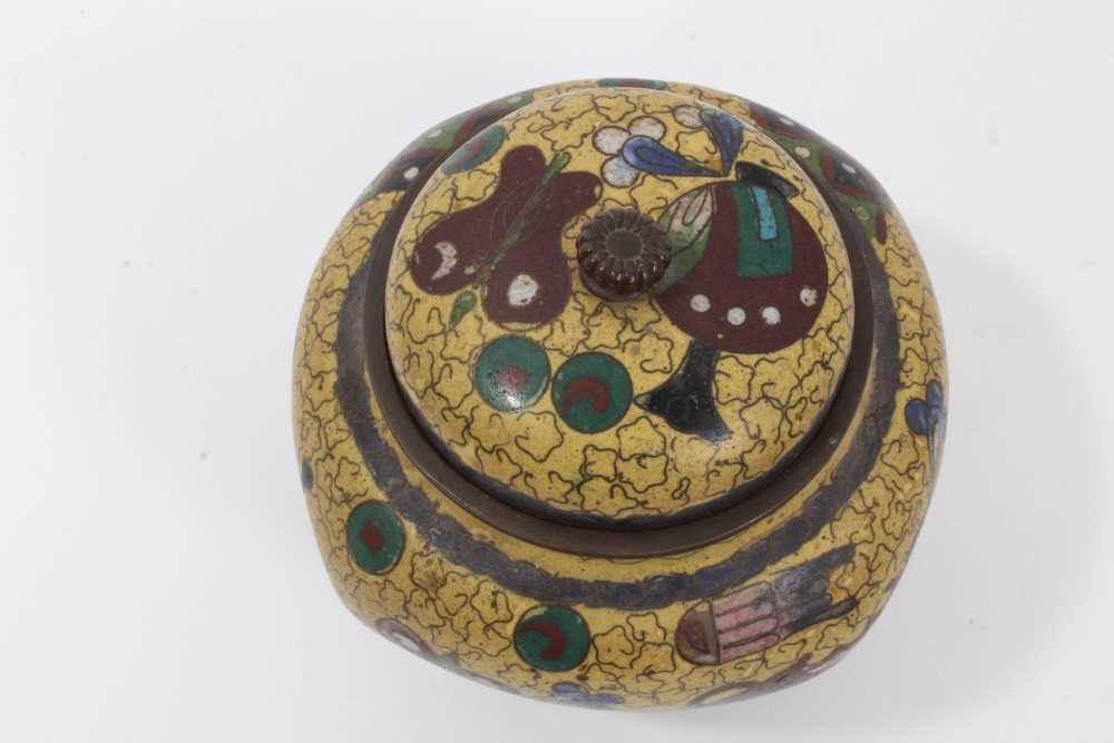 Japanese cloisonné pot and cover, together with another - Image 8 of 10