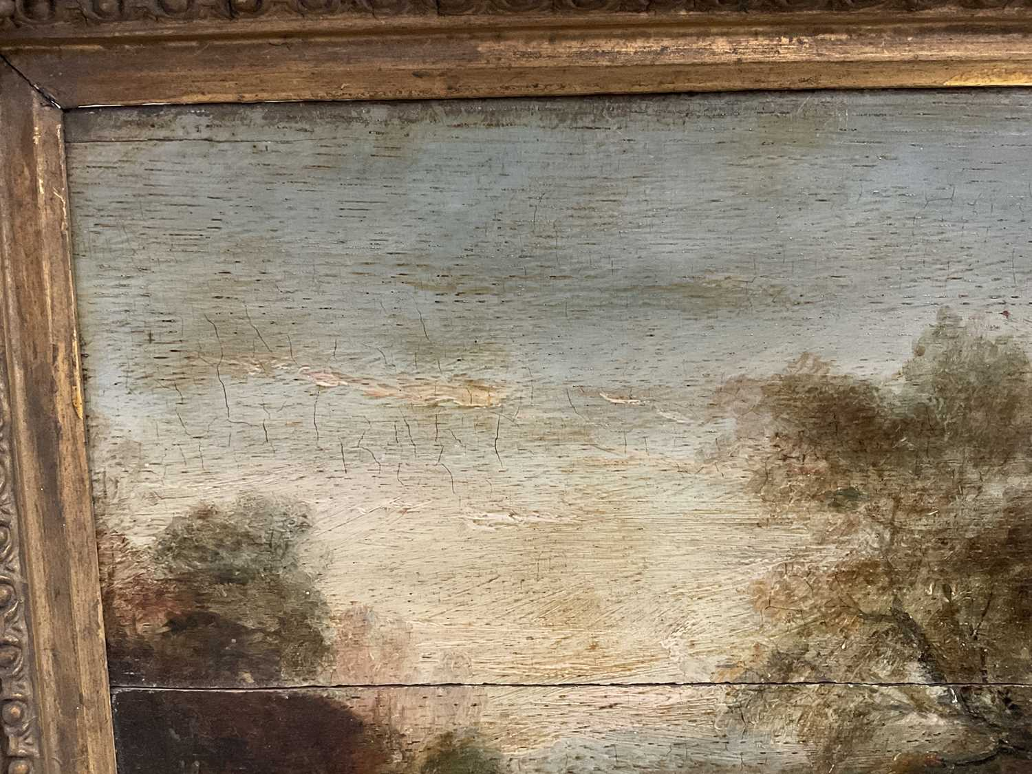 Manner of Thomas Gainsborough oil on panel - cattle and herders in landscape, in gilt frame - Image 12 of 15