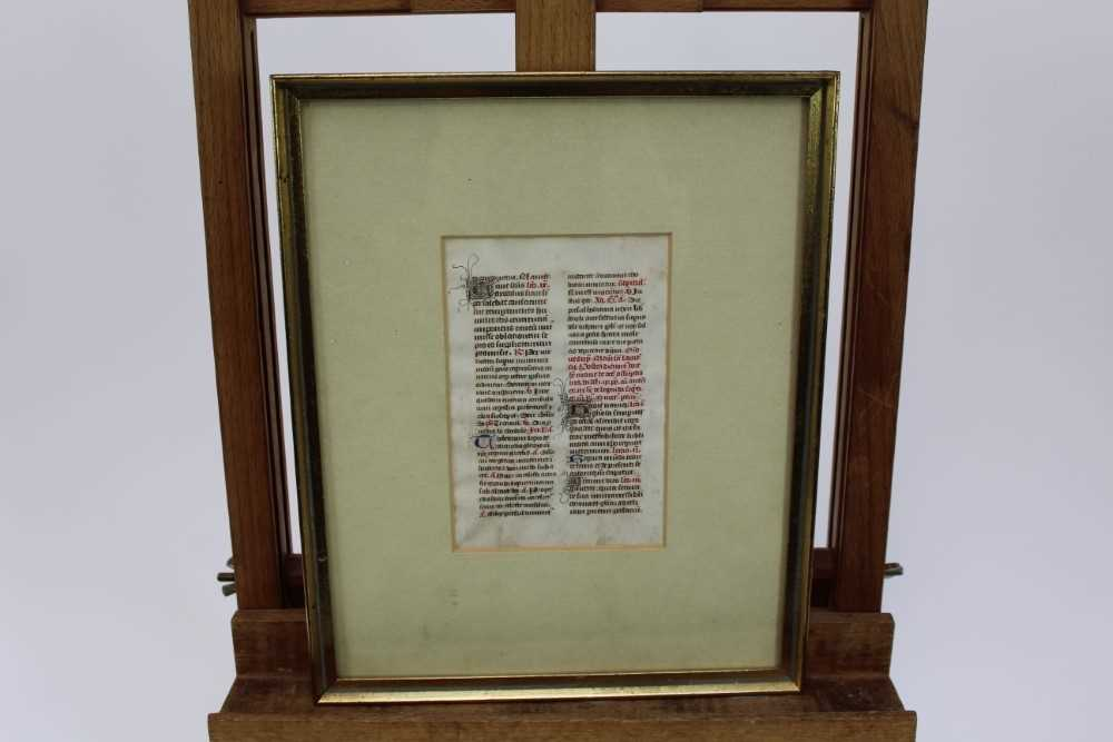 14th century French breviary leaf, framed and glazed, the leaf 13.5cm x 9cm - Image 2 of 6
