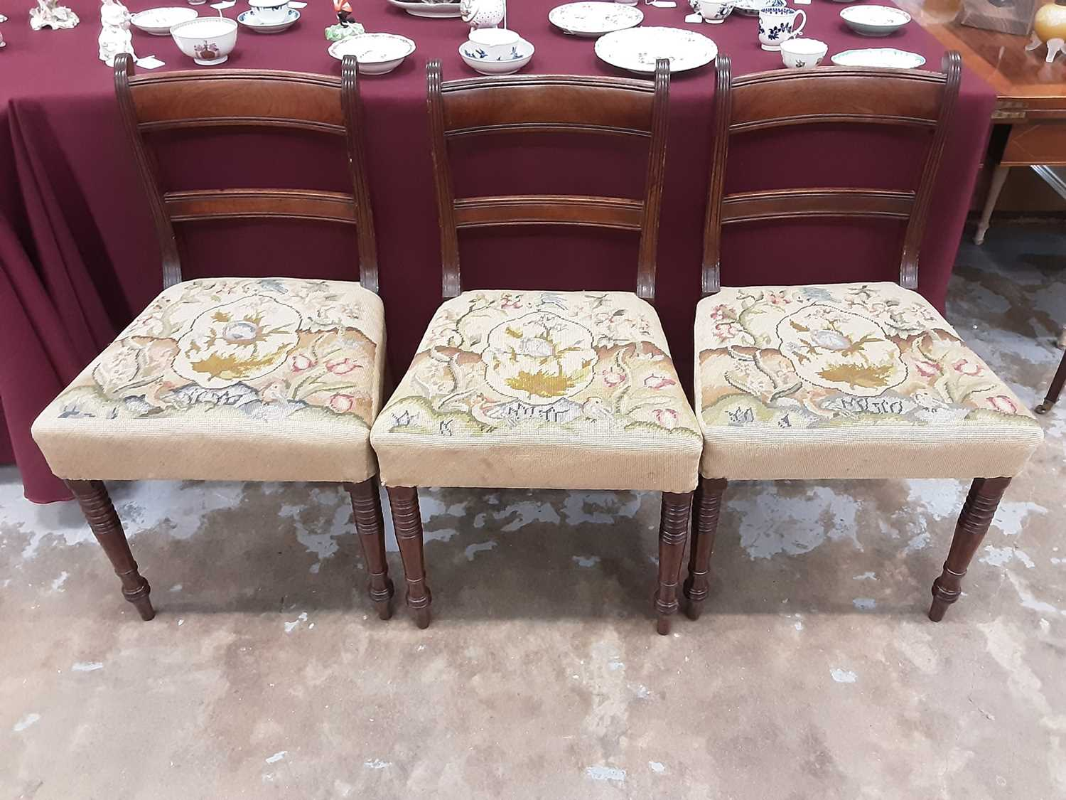 Set of eight Regency mahogany dining chairs, each with bar back and tapestry seat on ring turned leg - Image 2 of 3