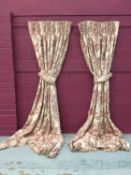 Two pairs of good quality interlined curtains with reddish pink floral design, approximately 294cm l