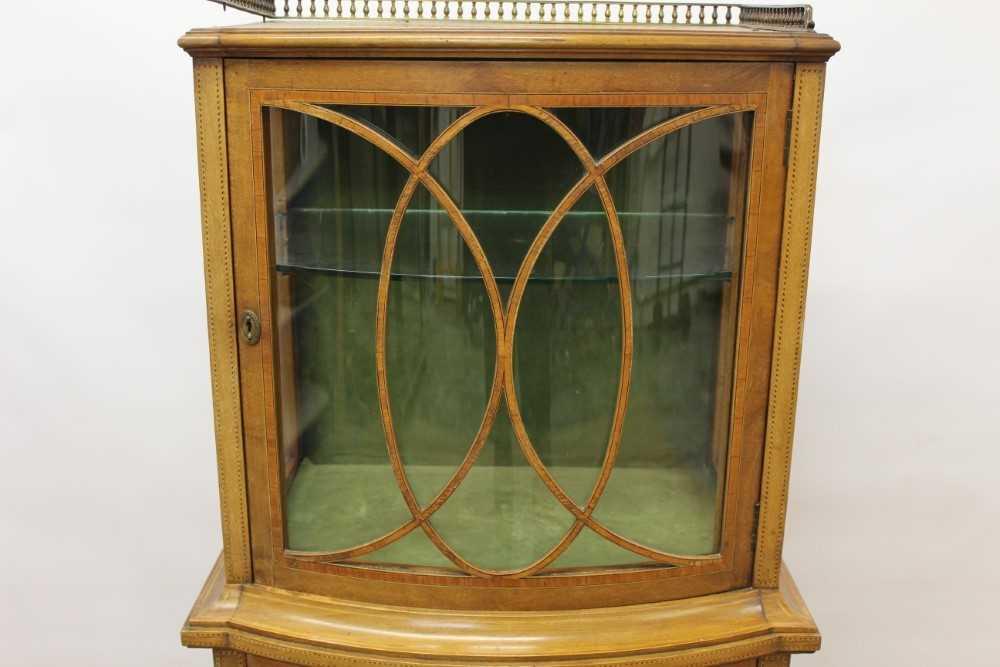 Edwardian mahogany and tulipwood crossbanded bowfront dwarf display cabinet - Image 3 of 6