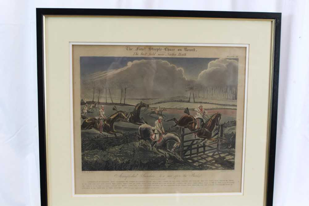 Henry Alken, set of four hand coloured engravings - First Steeple Chase on Record - Image 9 of 11