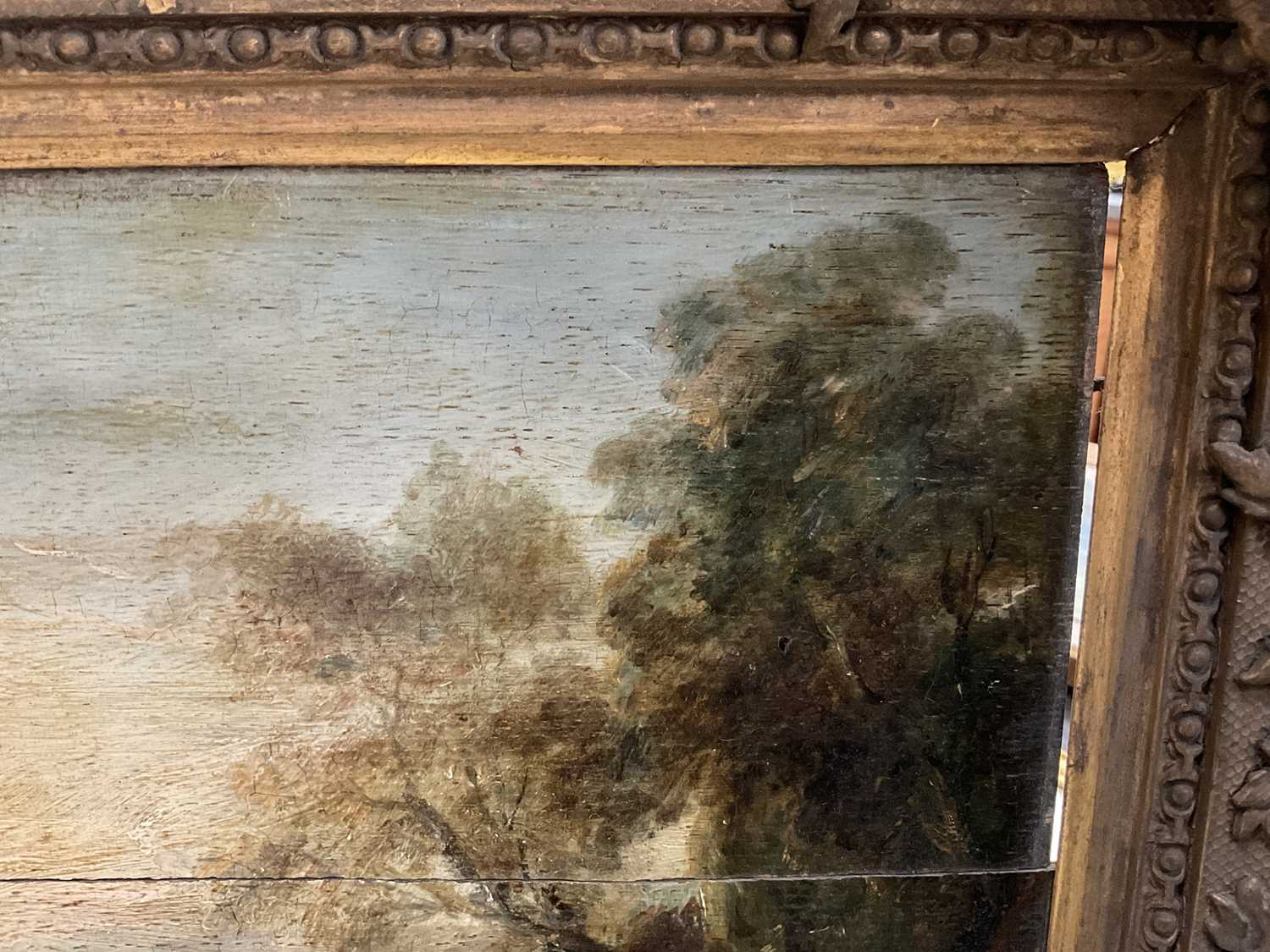 Manner of Thomas Gainsborough oil on panel - cattle and herders in landscape, in gilt frame - Image 11 of 15