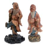 Pair of 18th century Chinese soapstone and polychrome figures