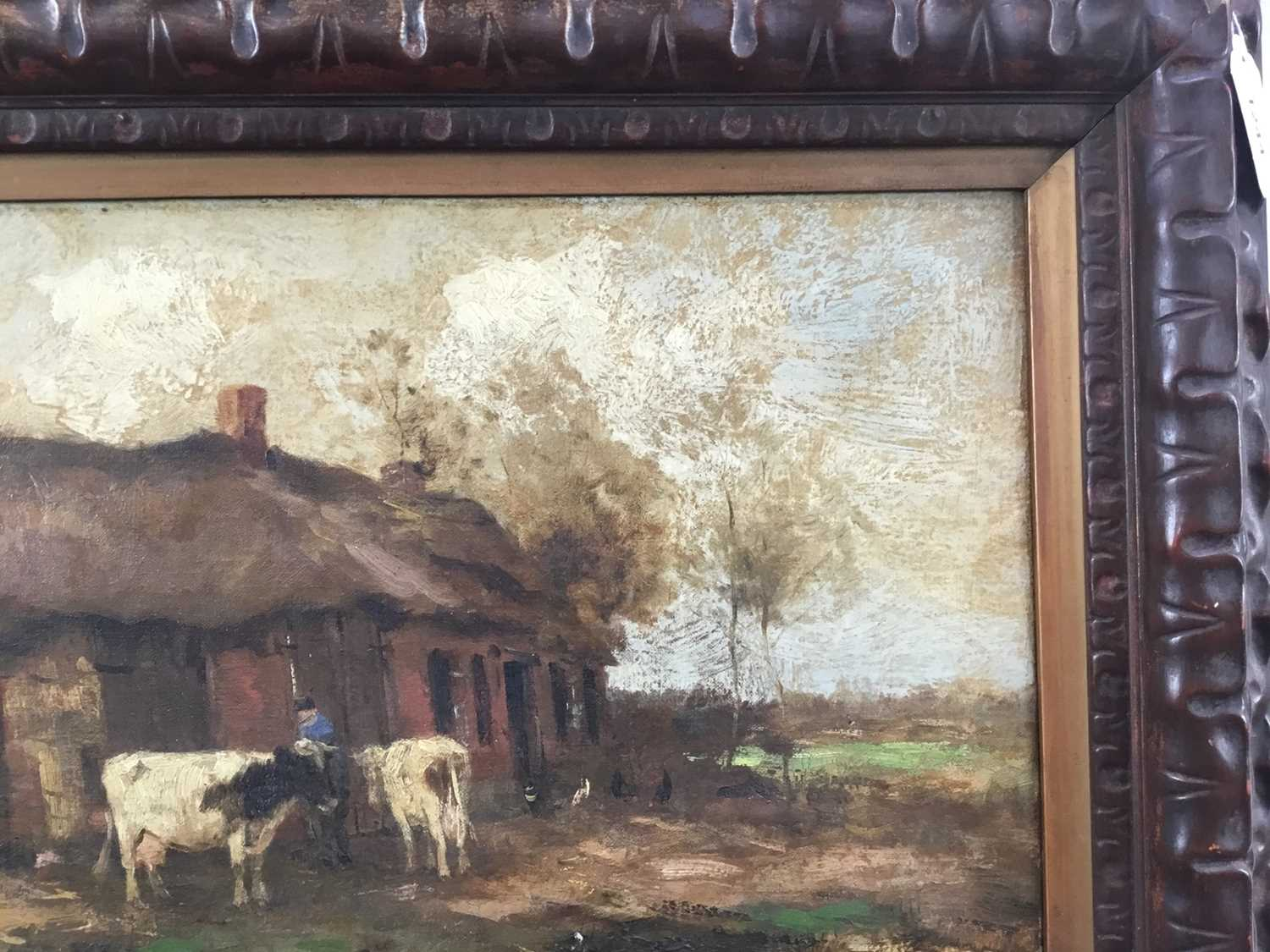 Willem G. F. Jansen (1871-1949) oil on canvas Figure and cattle in landscape - Image 6 of 10