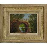 Lewis Taylor Gibb (1873-1945) oil on panel - A Rural Bridge, 25cm x 35cm, in painted frame