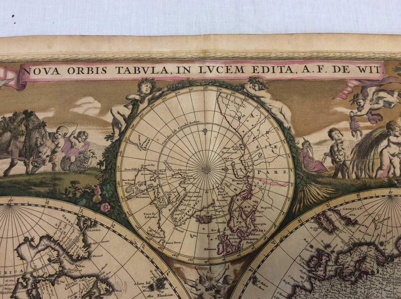 Frederick De Wit - Nova Orbis Tabula, in Lucem Edita, late 17th century hand coloured engraved map o - Image 3 of 11