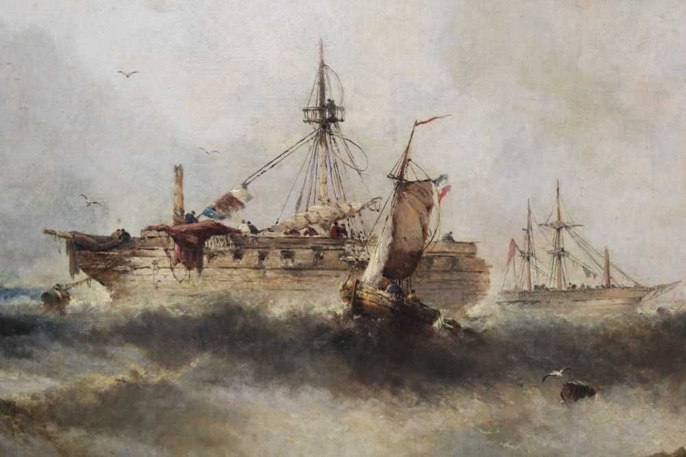 Manner of William Henry Williamson oil on canvas - shipping off the coast, in gilt frame - Image 3 of 27