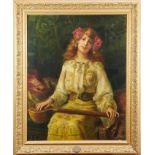 Antonio Torres Fuster (1874-1945) Orientalist portrait girl with instrument