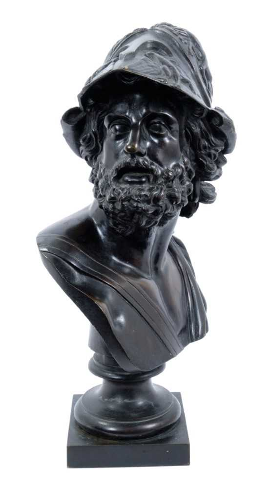 After the antique - 19th century Continental bronze bust of Menelaus