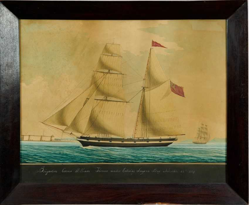 Mid 19th century ink and watercolour - 'Brigantine Emma - William Thomas master, Entering Smyrna Bay