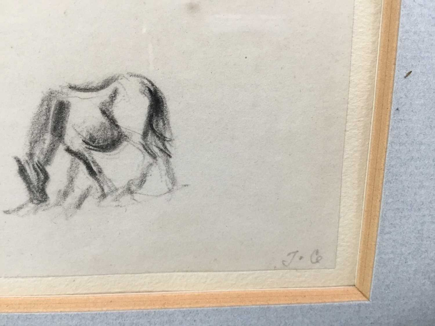 Thomas Churchyard, trio of pencil drawings of horses, framed as one - Image 9 of 9