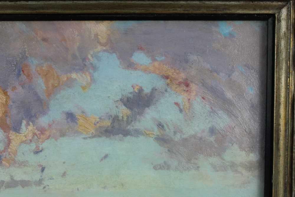 Lewis Taylor Gibb (1873-1945) oil on canvas - Extensive Landscape, 29cm x 33cm, in glazed gilt frame - Image 5 of 8