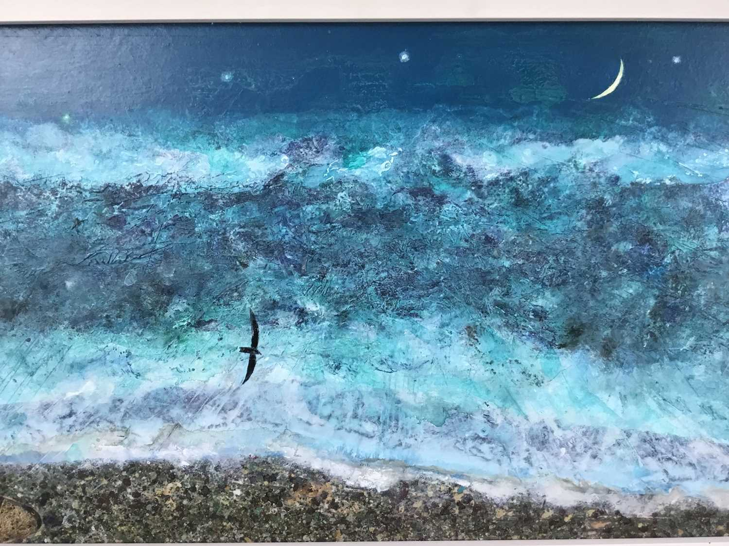 *Keith Grant (b.1930) acrylic on board - The Sea at Old Skagen with black Seabird and Crescent Moon, - Image 4 of 7