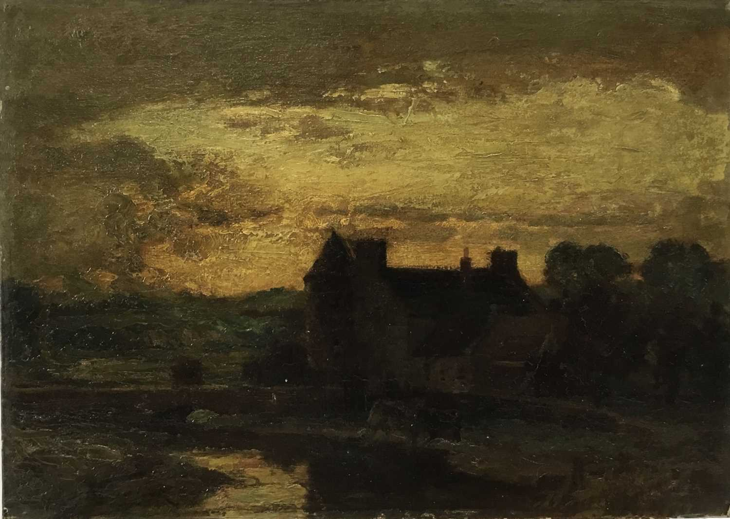 Attributed to Henry Jones Thaddeus (1859-1929) oil on board, landscape at dusk, 26 x 36cm, together