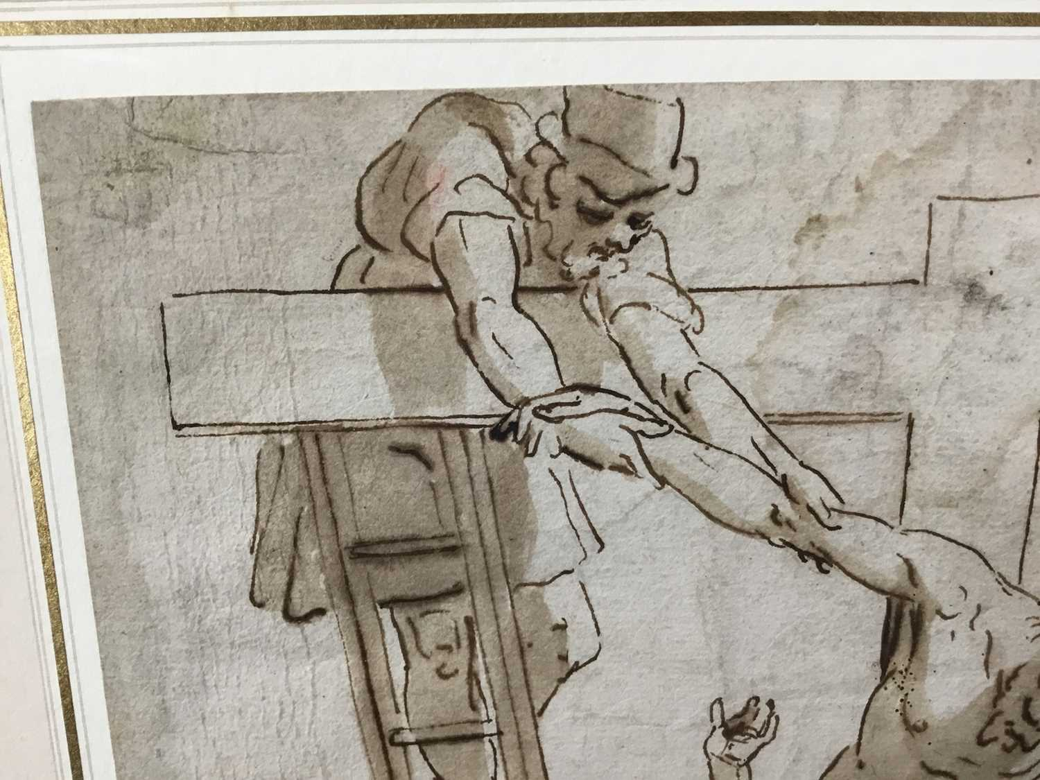 After Luca Cambiaso (1527-1585) 16th century drawing, pen and ink with wash, watermark, 'The Descent - Image 6 of 13