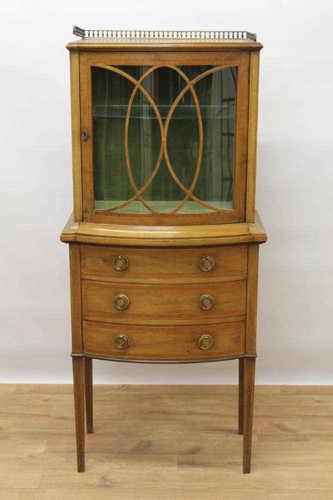 Edwardian mahogany and tulipwood crossbanded bowfront dwarf display cabinet