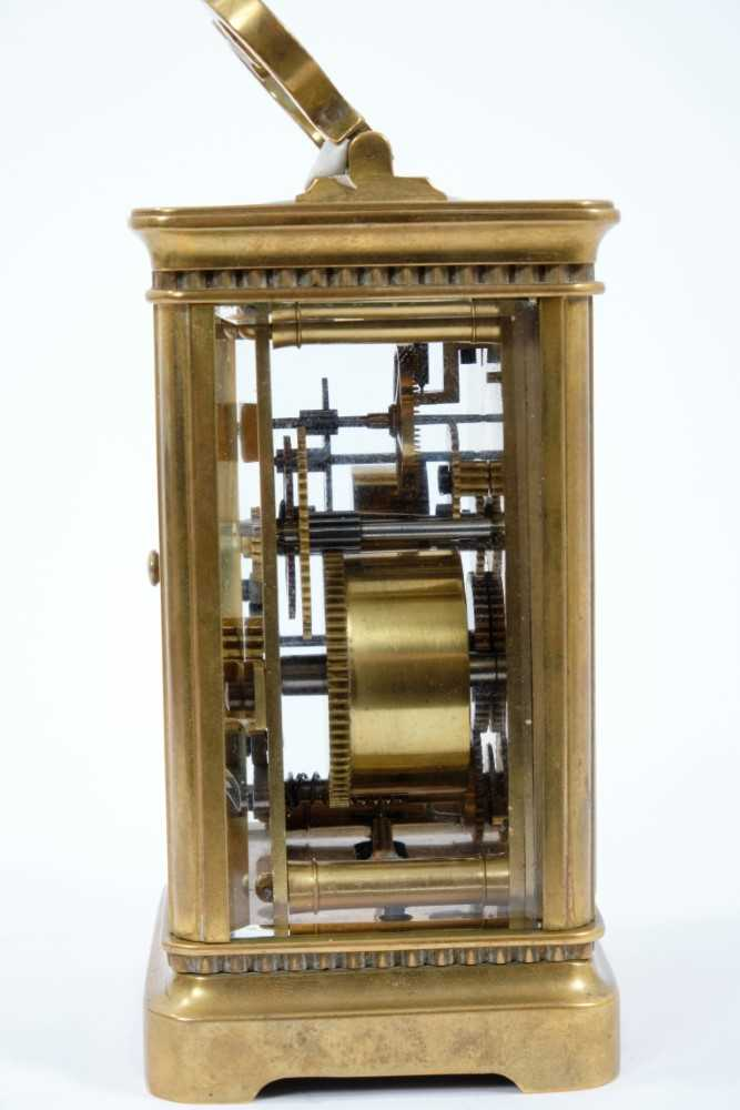 19th century French enamelled carriage clock with subsidiary alarm dial, striking on a bell, in case - Image 3 of 5