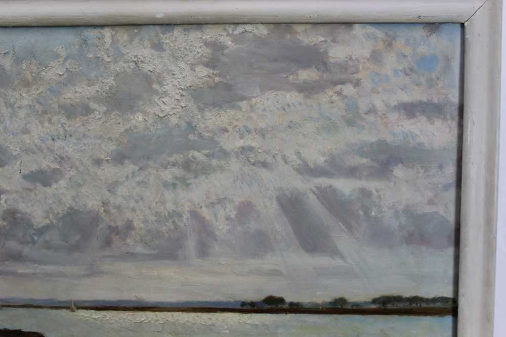 Fid Harnack oil on board, Strood Channel, signed and inscribed verso - Image 3 of 6