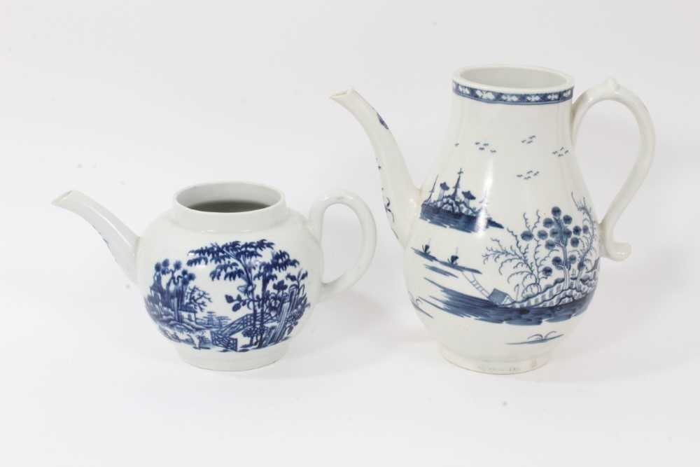 A Worcester Rock Strata Island pattern coffee pot, circa 1770, and a Worcester Plantation pattern te