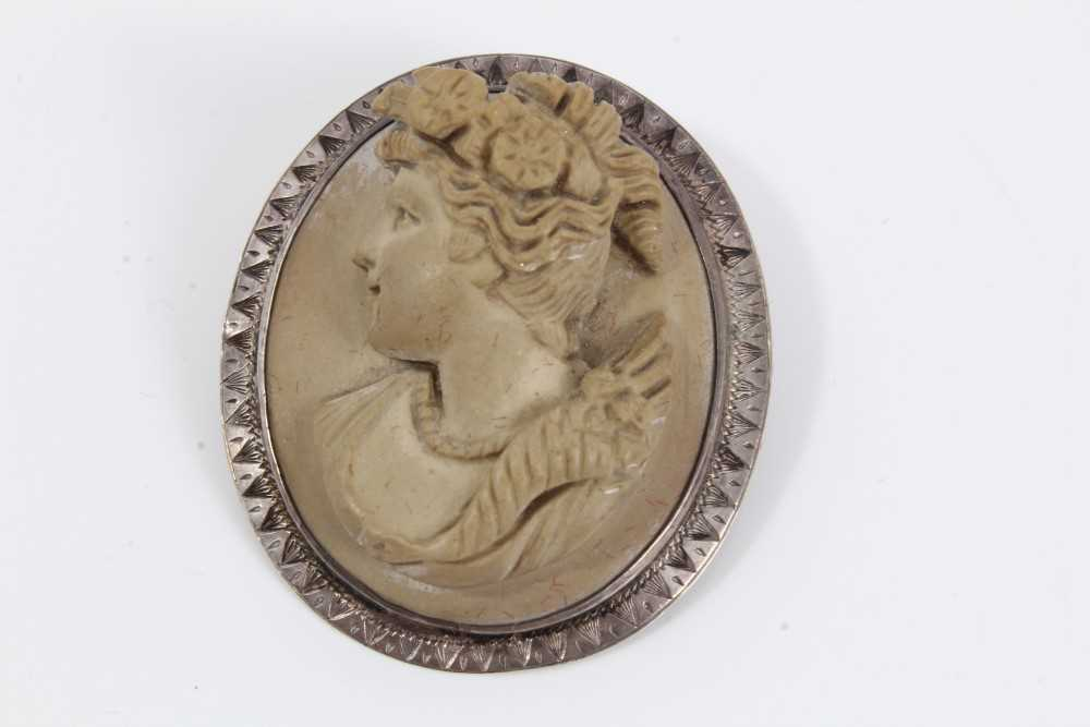 Two late 19th century Italian carved lava cameos depicting classical female busts, one titled to the - Image 4 of 5