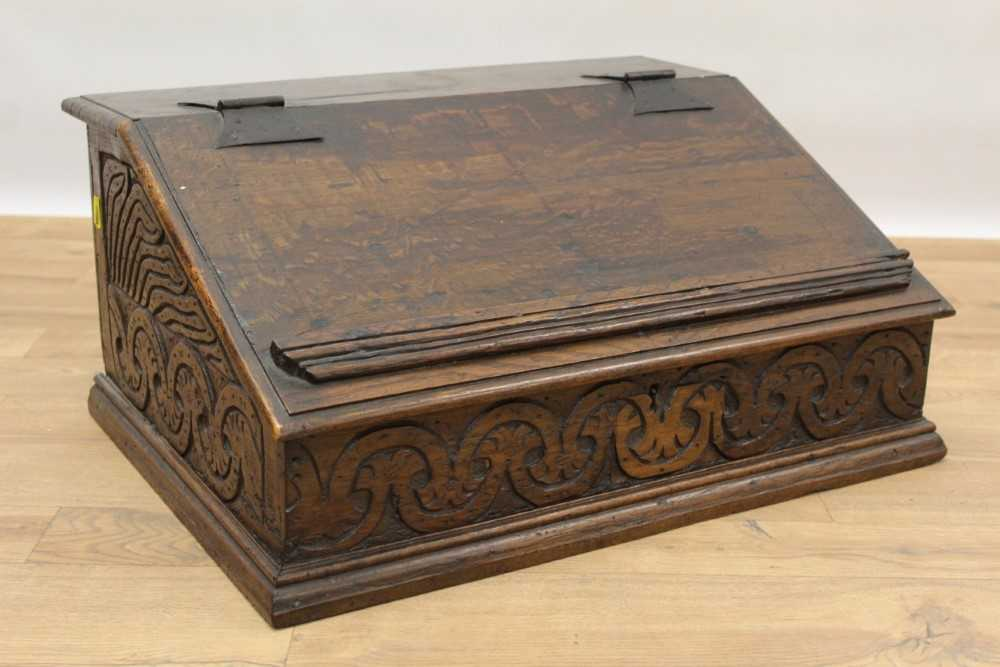 Late 17th century carved oak bible box - Image 2 of 5