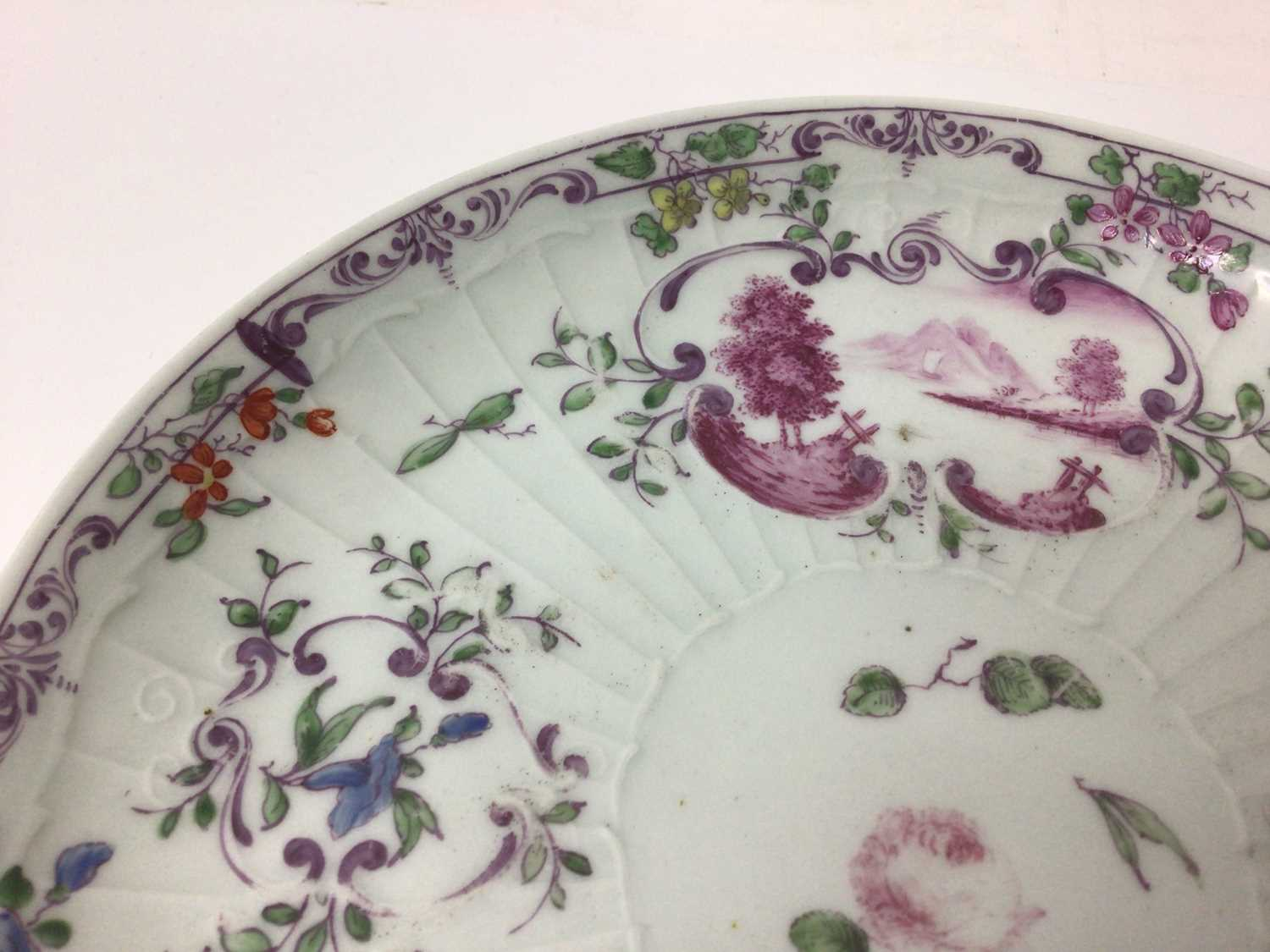 Worcester pleat-moulded saucer dish, circa 1756-58, painted in the Meissen style with puce landscape - Image 3 of 5