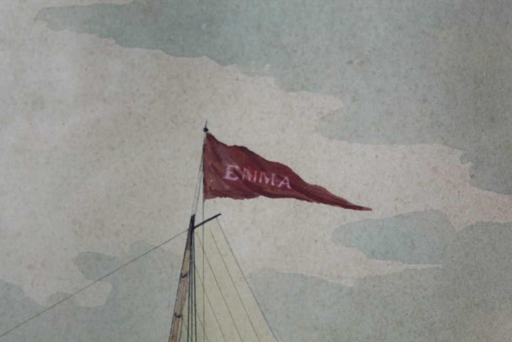 Mid 19th century ink and watercolour - 'Brigantine Emma - William Thomas master, Entering Smyrna Bay - Image 7 of 8