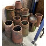 Collection of terracotta chimney pots