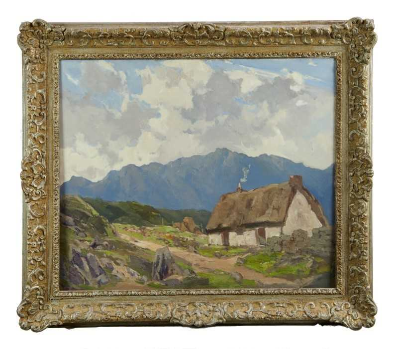 Lewis Taylor Gibb (1873-1945) oil on canvas - Crofters Cottage, 50cm x 61cm, in silvered frame