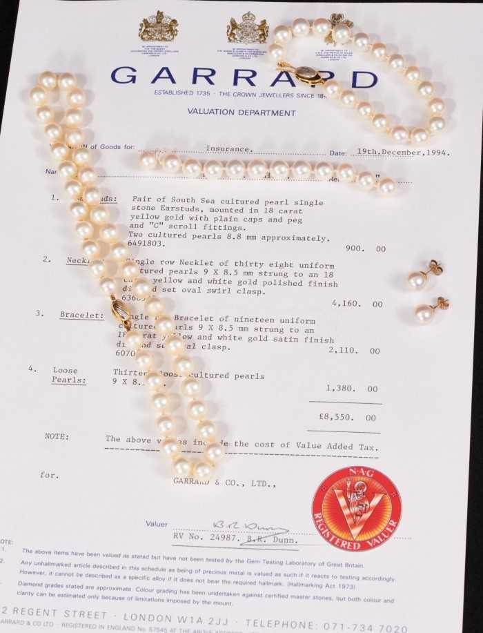 Garrard & Co. cultured pearl necklace, bracelet and two pairs of earrings plus twelve loose cultured - Image 2 of 3