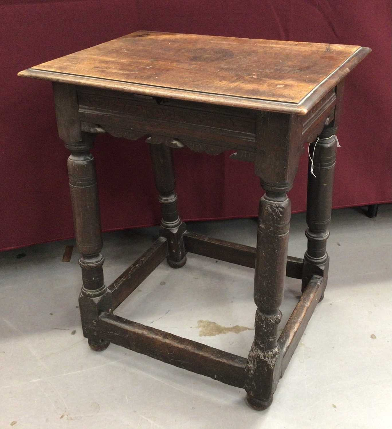 17th century and later oak joint stool - Image 2 of 5
