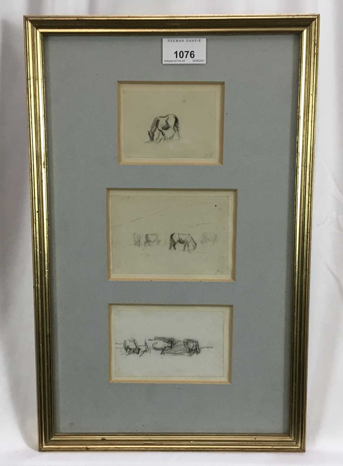 Thomas Churchyard, trio of pencil drawings of horses, framed as one - Image 2 of 9