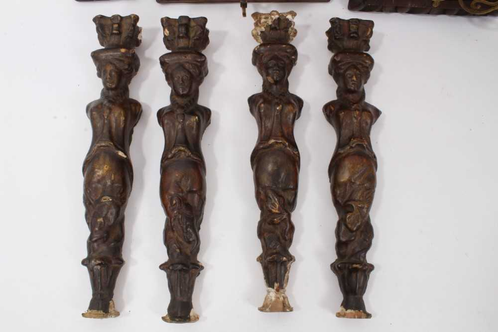 Collection of 17th century and later carved panels and furniture mounts - Image 2 of 9