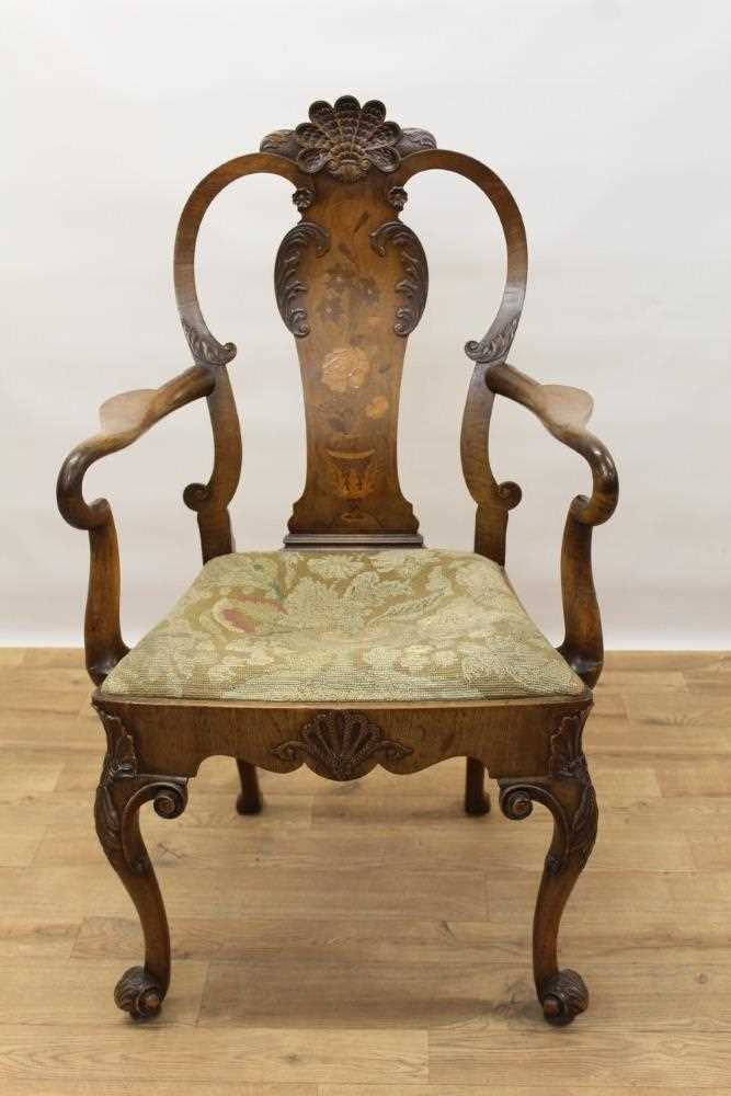 George I style walnut and inlaid crook arm elbow chair