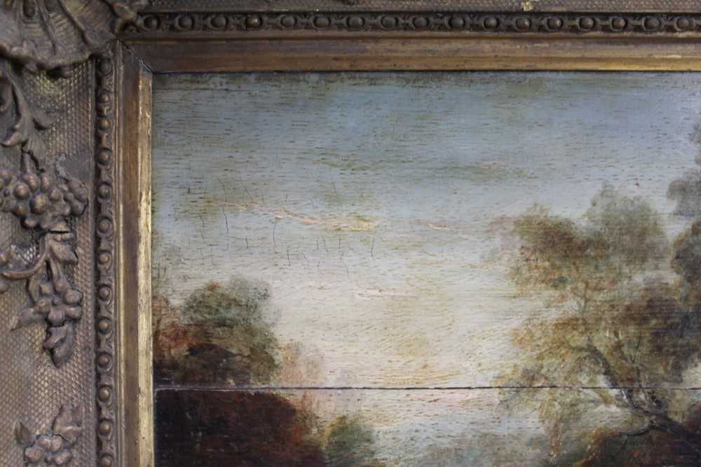 Manner of Thomas Gainsborough oil on panel - cattle and herders in landscape, in gilt frame - Image 4 of 15