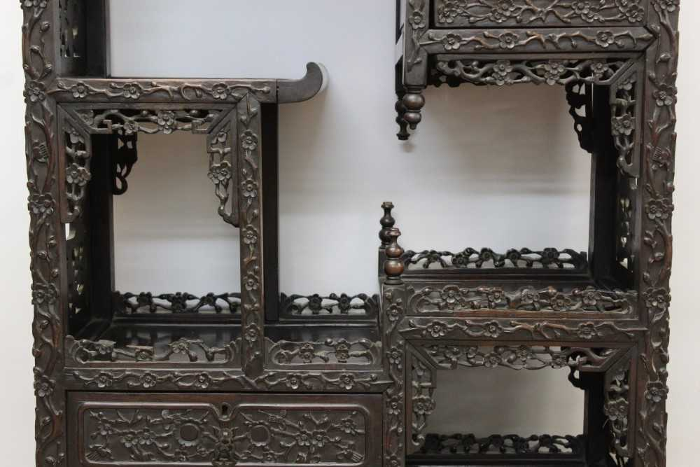 Late 19th century Chinese carved rosewood display cabinet - Image 3 of 13