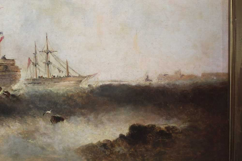 Manner of William Henry Williamson oil on canvas - shipping off the coast, in gilt frame - Image 15 of 27