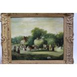 English School, 19th Century, A hay making scene with many villagers loading a horse drawn wagon,